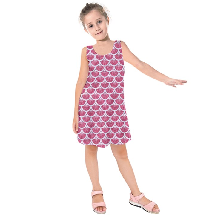 SCALES3 WHITE MARBLE & PINK DENIM Kids  Sleeveless Dress