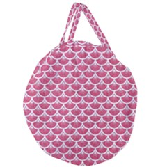 Scales3 White Marble & Pink Denim Giant Round Zipper Tote by trendistuff