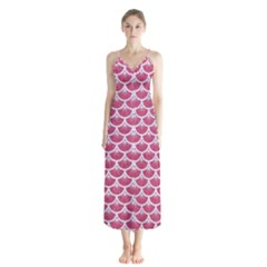 Scales3 White Marble & Pink Denim Button Up Chiffon Maxi Dress