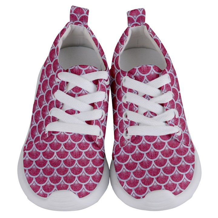 SCALES3 WHITE MARBLE & PINK DENIM Kids  Lightweight Sports Shoes