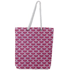 Scales3 White Marble & Pink Denim Full Print Rope Handle Tote (large)
