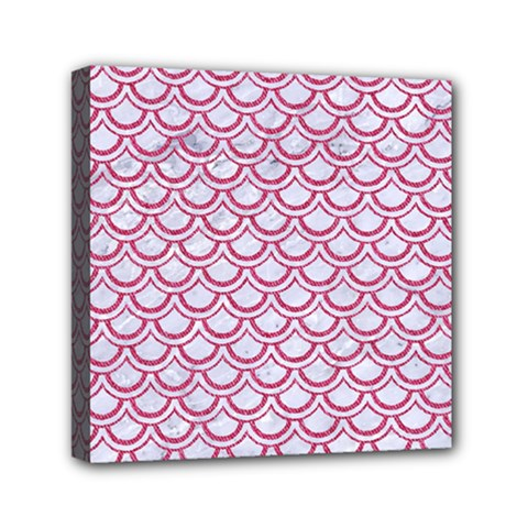 Scales2 White Marble & Pink Denim (r) Mini Canvas 6  X 6  by trendistuff