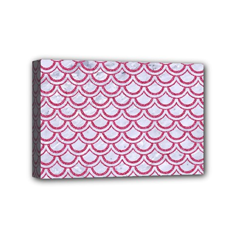 Scales2 White Marble & Pink Denim (r) Mini Canvas 6  X 4  by trendistuff