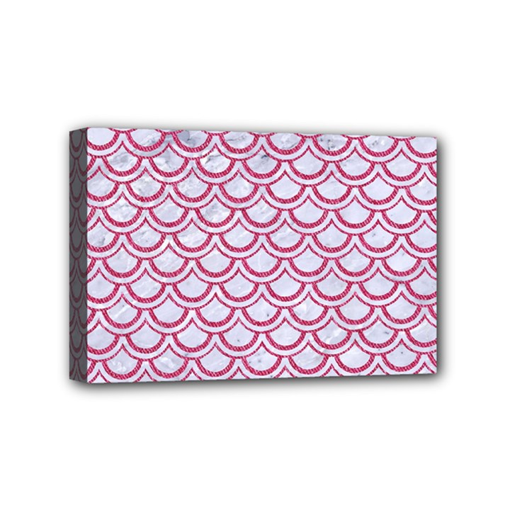 SCALES2 WHITE MARBLE & PINK DENIM (R) Mini Canvas 6  x 4