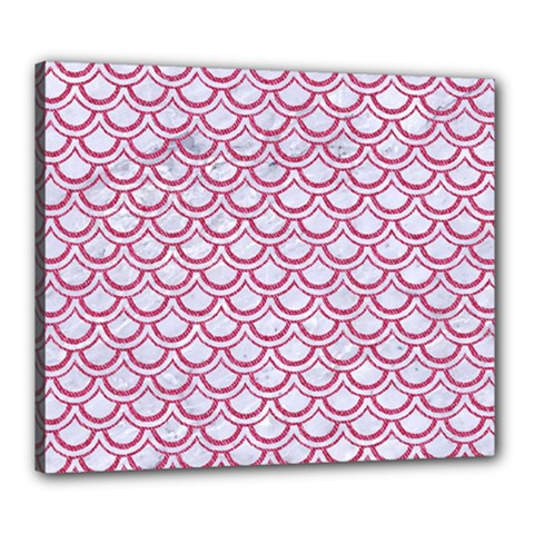 Scales2 White Marble & Pink Denim (r) Canvas 24  X 20  by trendistuff