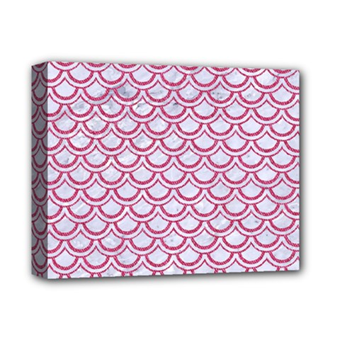 Scales2 White Marble & Pink Denim (r) Deluxe Canvas 14  X 11  by trendistuff