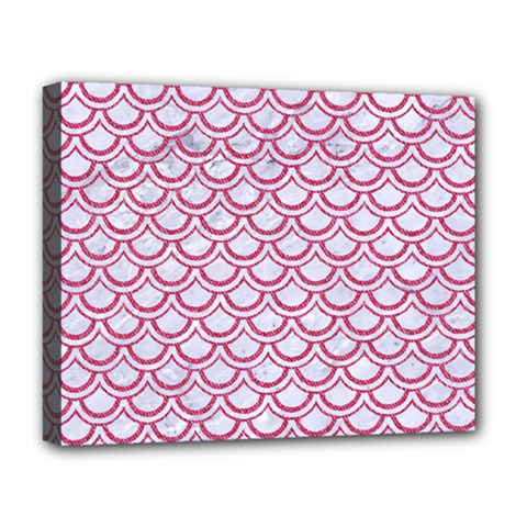 Scales2 White Marble & Pink Denim (r) Deluxe Canvas 20  X 16   by trendistuff