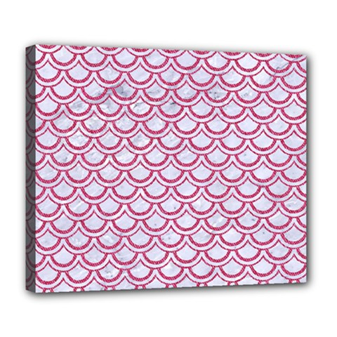 Scales2 White Marble & Pink Denim (r) Deluxe Canvas 24  X 20   by trendistuff