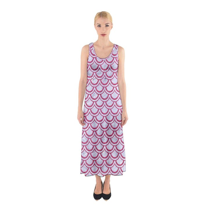 SCALES2 WHITE MARBLE & PINK DENIM (R) Sleeveless Maxi Dress