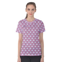 Scales2 White Marble & Pink Denim (r) Women s Cotton Tee