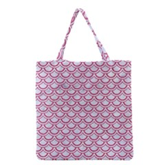 Scales2 White Marble & Pink Denim (r) Grocery Tote Bag by trendistuff