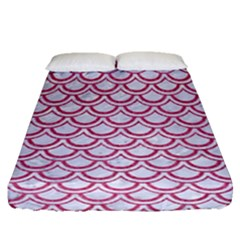 Scales2 White Marble & Pink Denim (r) Fitted Sheet (queen Size)