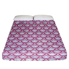 Scales2 White Marble & Pink Denim (r) Fitted Sheet (california King Size) by trendistuff