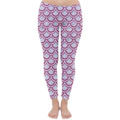 Scales2 White Marble & Pink Denim (r) Classic Winter Leggings