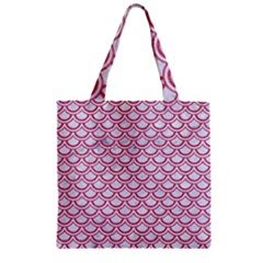 Scales2 White Marble & Pink Denim (r) Zipper Grocery Tote Bag