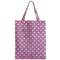 Scales2 White Marble & Pink Denim (r) Zipper Classic Tote Bag by trendistuff
