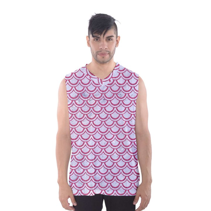 SCALES2 WHITE MARBLE & PINK DENIM (R) Men s Basketball Tank Top
