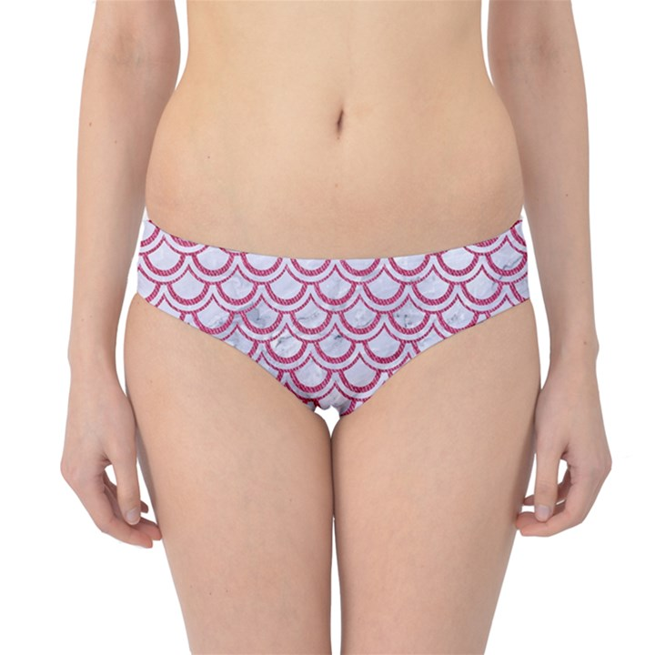 SCALES2 WHITE MARBLE & PINK DENIM (R) Hipster Bikini Bottoms