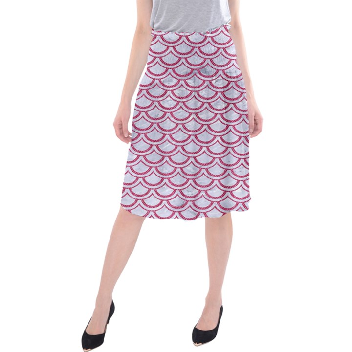 SCALES2 WHITE MARBLE & PINK DENIM (R) Midi Beach Skirt