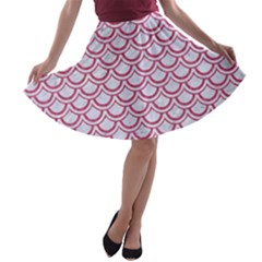 Scales2 White Marble & Pink Denim (r) A Line Skater Skirt