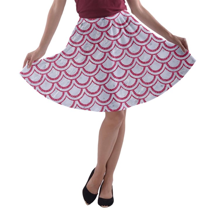 SCALES2 WHITE MARBLE & PINK DENIM (R) A-line Skater Skirt