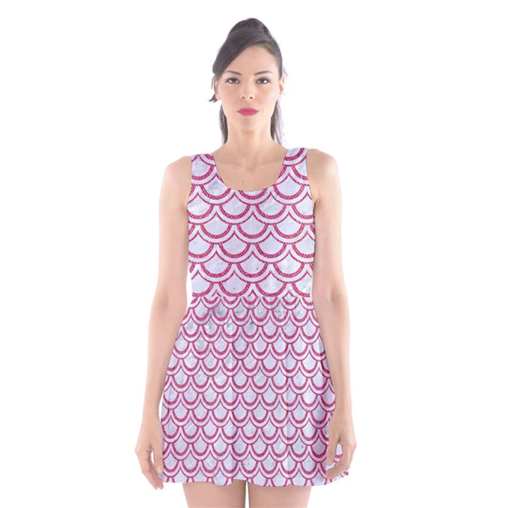 SCALES2 WHITE MARBLE & PINK DENIM (R) Scoop Neck Skater Dress