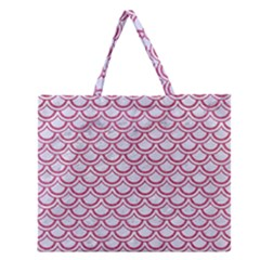 Scales2 White Marble & Pink Denim (r) Zipper Large Tote Bag by trendistuff