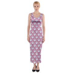 Scales2 White Marble & Pink Denim (r) Fitted Maxi Dress