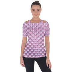 Scales2 White Marble & Pink Denim (r) Short Sleeve Top