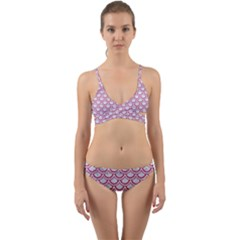 Scales2 White Marble & Pink Denim (r) Wrap Around Bikini Set by trendistuff