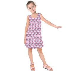 Scales2 White Marble & Pink Denim (r) Kids  Sleeveless Dress