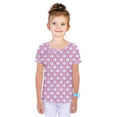 Scales2 White Marble & Pink Denim (r) Kids  One Piece Tee