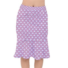 Scales2 White Marble & Pink Denim (r) Mermaid Skirt