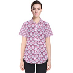 Scales2 White Marble & Pink Denim (r) Women s Short Sleeve Shirt