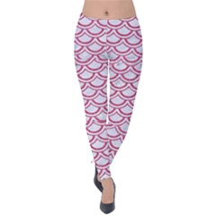 Scales2 White Marble & Pink Denim (r) Velvet Leggings by trendistuff