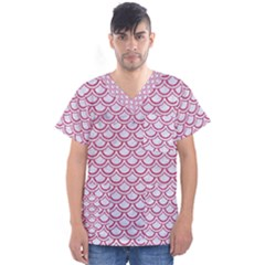 Scales2 White Marble & Pink Denim (r) Men s V Neck Scrub Top