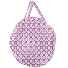 Scales2 White Marble & Pink Denim (r) Giant Round Zipper Tote by trendistuff