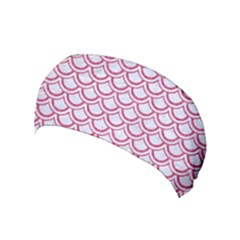 Scales2 White Marble & Pink Denim (r) Yoga Headband