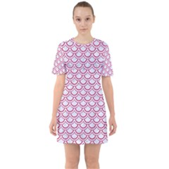 Scales2 White Marble & Pink Denim (r) Sixties Short Sleeve Mini Dress
