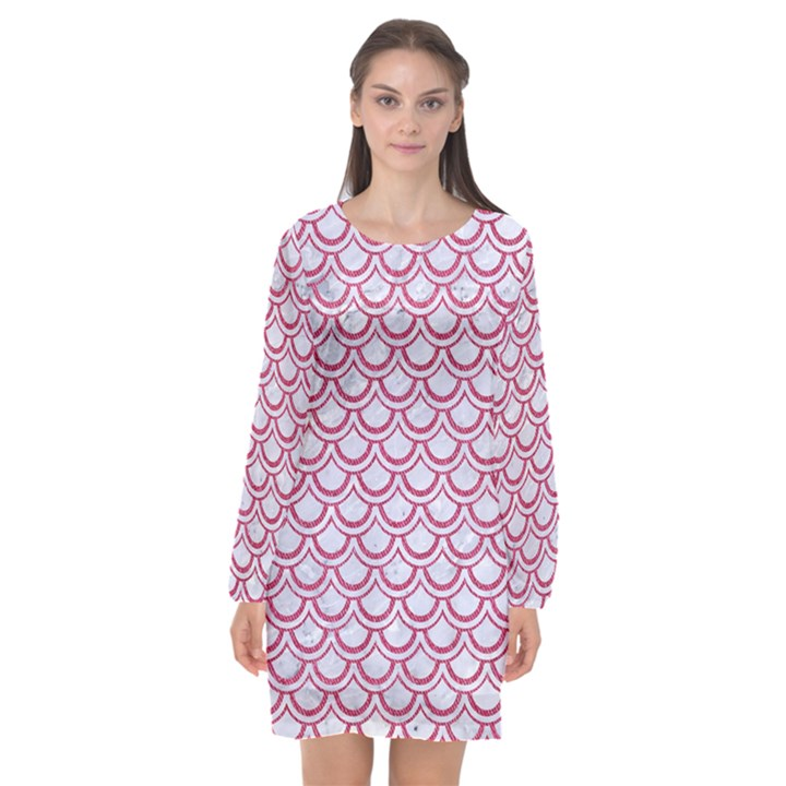 SCALES2 WHITE MARBLE & PINK DENIM (R) Long Sleeve Chiffon Shift Dress