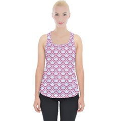 Scales2 White Marble & Pink Denim (r) Piece Up Tank Top
