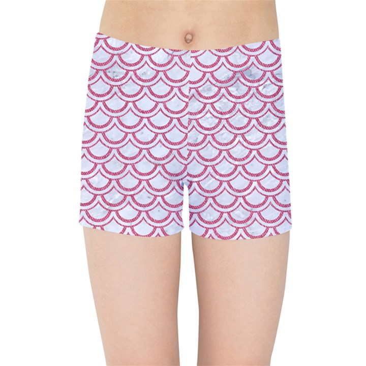 SCALES2 WHITE MARBLE & PINK DENIM (R) Kids Sports Shorts