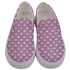 Scales2 White Marble & Pink Denim (r) Men s Canvas Slip Ons