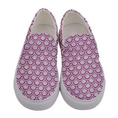 Scales2 White Marble & Pink Denim (r) Women s Canvas Slip Ons