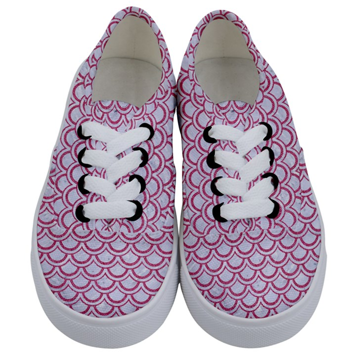 SCALES2 WHITE MARBLE & PINK DENIM (R) Kids  Classic Low Top Sneakers