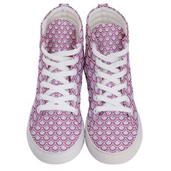 Scales2 White Marble & Pink Denim (r) Women s Hi Top Skate Sneakers