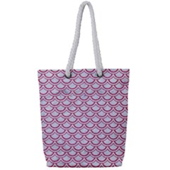 Scales2 White Marble & Pink Denim (r) Full Print Rope Handle Tote (small) by trendistuff