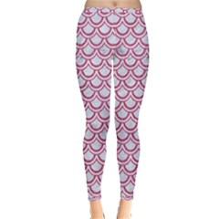 Scales2 White Marble & Pink Denim (r) Inside Out Leggings by trendistuff