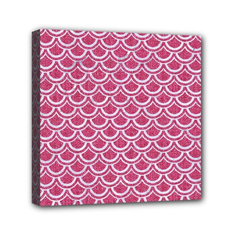 Scales2 White Marble & Pink Denim Mini Canvas 6  X 6  by trendistuff