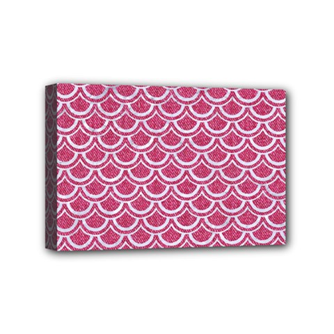 Scales2 White Marble & Pink Denim Mini Canvas 6  X 4  by trendistuff